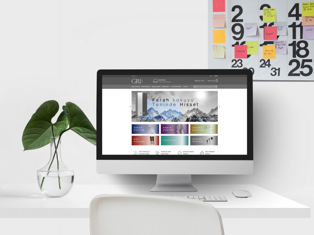 Gri parfüm internet sitesi tasarımı